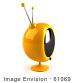 #61069 Royalty-Free (Rf) Illustration Of A 3d Round Yellow Retro Television - Version 5