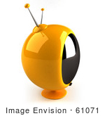 #61071 Royalty-Free (Rf) Illustration Of A 3d Round Yellow Retro Television - Version 2