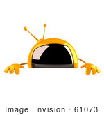 #61073 Royalty-Free (Rf) Illustration Of A 3d Yellow Square Television Character Standing Behind A Blank Sign