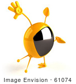 #61074 Royalty-Free (Rf) Illustration Of A 3d Yellow Square Television Character Doing A Cartwheel - Version 3