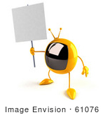 #61076 Royalty-Free (Rf) Illustration Of A 3d Yellow Square Television Character Holding Up A Blank Sign - Version 4