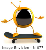 #61077 Royalty-Free (Rf) Illustration Of A 3d Yellow Square Television Character Skateboarding - Pose 1