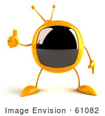 #61082 Royalty-Free (Rf) Illustration Of A 3d Yellow Square Television Character Giving The Thumbs Up - Version 1