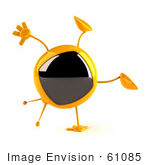 #61085 Royalty-Free (Rf) Illustration Of A 3d Yellow Square Television Character Doing A Cartwheel - Version 1