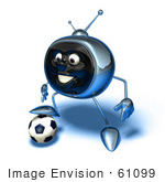 #61099 Royalty-Free (Rf) Illustration Of A 3d Chrome Tv Character Playing Soccer - Version 12