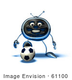 #61100 Royalty-Free (Rf) Illustration Of A 3d Chrome Tv Character Playing Soccer - Version 9
