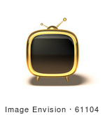 #61104 Royalty-Free (Rf) Illustration Of A 3d Golden Square Shaped Retro Television - Version 4