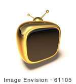 #61105 Royalty-Free (Rf) Illustration Of A 3d Golden Square Shaped Retro Television - Version 6