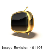 #61106 Royalty-Free (Rf) Illustration Of A 3d Golden Square Shaped Retro Television - Version 5