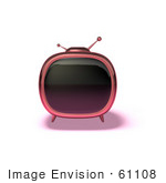 #61108 Royalty-Free (Rf) Illustration Of A 3d Pink Square Retro Television - Version 5