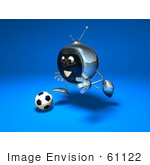 #61122 Royalty-Free (Rf) Illustration Of A 3d Chrome Tv Character Playing Soccer - Version 7