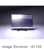 #61130 Royalty-Free (Rf) Illustration Of A 3d Slim Led Tv On A Raised Mount - Version 1