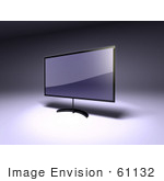 #61132 Royalty-Free (Rf) Illustration Of A 3d Slim Led Tv On A Raised Mount - Version 2