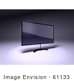 #61133 Royalty-Free (Rf) Illustration Of A 3d Slim Led Tv On A Raised Mount - Version 5