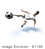 #61136 Royalty-Free (Rf) Illustration Of A 3d Soccer Player Kicking A Soccer Ball - Version 29
