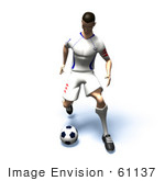#61137 Royalty-Free (Rf) Illustration Of A 3d Soccer Player Kicking A Soccer Ball - Version 16