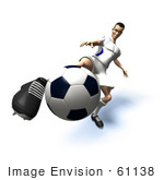 #61138 Royalty-Free (Rf) Illustration Of A 3d Soccer Player Kicking A Soccer Ball - Version 20