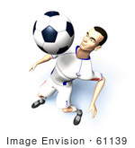 #61139 Royalty-Free (Rf) Illustration Of A 3d Soccer Player Bouncing A Ball Off Of His Chest - Version 9