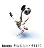 #61140 Royalty-Free (Rf) Illustration Of A 3d Soccer Player Kicking A Soccer Ball - Version 30