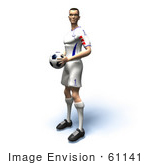 #61141 Royalty-Free (Rf) Illustration Of A 3d Soccer Player Holding A Soccer Ball - Version 4