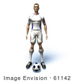 #61142 Royalty-Free (Rf) Illustration Of A 3d Soccer Player Standing Over A Soccer Ball - Version 1