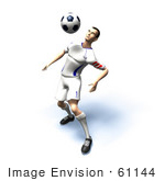 #61144 Royalty-Free (Rf) Illustration Of A 3d Soccer Player Bouncing A Ball Off Of His Chest - Version 8
