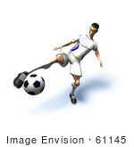 #61145 Royalty-Free (Rf) Illustration Of A 3d Soccer Player Kicking A Soccer Ball - Version 18