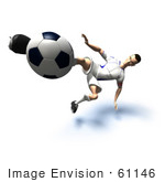 #61146 Royalty-Free (Rf) Illustration Of A 3d Soccer Player Kicking A Soccer Ball - Version 32
