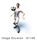 #61148 Royalty-Free (Rf) Illustration Of A 3d Soccer Player Bouncing A Ball Off Of His Chest - Version 7