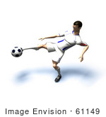 #61149 Royalty-Free (Rf) Illustration Of A 3d Soccer Player Kicking A Soccer Ball - Version 19
