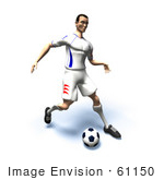 #61150 Royalty-Free (Rf) Illustration Of A 3d Soccer Player Kicking A Soccer Ball - Version 17