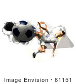 #61151 Royalty-Free (Rf) Illustration Of A 3d Soccer Player Kicking A Soccer Ball - Version 34