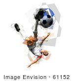 #61152 Royalty-Free (Rf) Illustration Of A 3d Soccer Player Kicking A Soccer Ball - Version 35