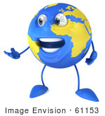 #61153 Royalty-Free (Rf) Illustration Of A 3d Blue And Yellow Globe Character Talking And Gesturing