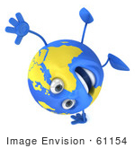 #61154 Royalty-Free (Rf) Illustration Of A 3d Blue And Yellow Globe Character Performing A One Armed Hand Stand