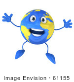#61155 Royalty-Free (Rf) Illustration Of A 3d Blue And Yellow Globe Character Jumping