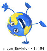 #61156 Royalty-Free (Rf) Illustration Of A 3d Blue And Yellow Globe Character Doing A Hand Stand