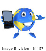 #61157 Royalty-Free (Rf) Illustration Of A 3d Blue And Yellow Globe Character Holding Out A Modern Cell Phone
