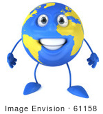 #61158 Royalty-Free (Rf) Illustration Of A 3d Blue And Yellow Globe Mascot