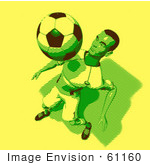 #61160 Royalty-Free (Rf) Illustration Of A 3d Soccer Player Bouncing A Ball Off Of His Chest - Version 11