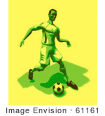 #61161 Royalty-Free (Rf) Illustration Of A 3d Soccer Player Kicking A Soccer Ball - Version 27