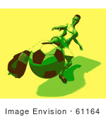 #61164 Royalty-Free (Rf) Illustration Of A 3d Soccer Player Kicking A Soccer Ball - Version 22