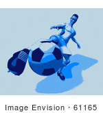 #61165 Royalty-Free (Rf) Illustration Of A 3d Soccer Character Kicking A Soccer Ball - Version 21