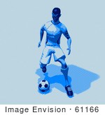 #61166 Royalty-Free (Rf) Illustration Of A 3d Soccer Character Kicking A Soccer Ball - Version 26
