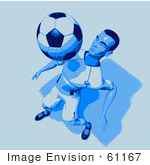 #61167 Royalty-Free (Rf) Illustration Of A 3d Soccer Character Bouncing A Ball Off Of His Chest - Version 10