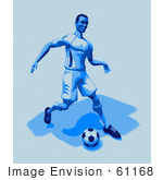 #61168 Royalty-Free (Rf) Illustration Of A 3d Soccer Character Kicking A Soccer Ball - Version 28