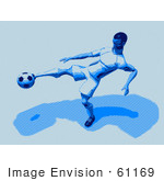 #61169 Royalty-Free (Rf) Illustration Of A 3d Soccer Character Kicking A Soccer Ball - Version 23