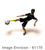 #61170 Royalty-Free (Rf) Illustration Of A 3d Soccer Player Kicking A Soccer Ball - Version 14