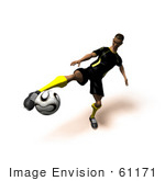 #61171 Royalty-Free (Rf) Illustration Of A 3d Soccer Player Kicking A Soccer Ball - Version 15