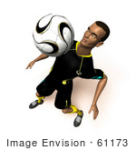 #61173 Royalty-Free (Rf) Illustration Of A 3d Soccer Player Bouncing A Ball Off Of His Chest - Version 6